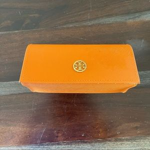 Tory Burch orange leather glasses case